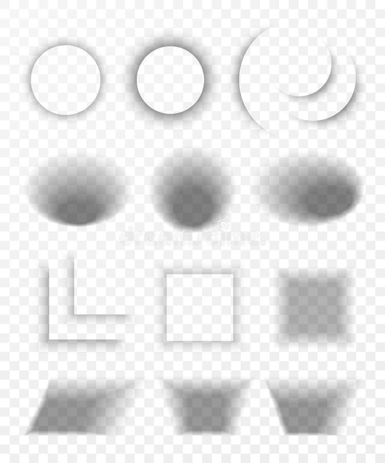 Sistema de papel realista transparente del efecto de sombra Bandera del Web Sombra para hacer publicidad y el mensaje promocional stock de ilustración