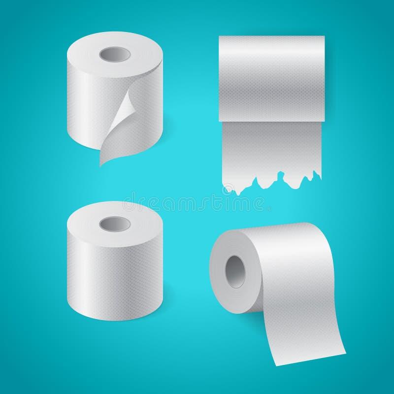 Sistema de papel texturizado realista del rollo, toalla de cocina, rollo rasgado del papel higiénico stock de ilustración