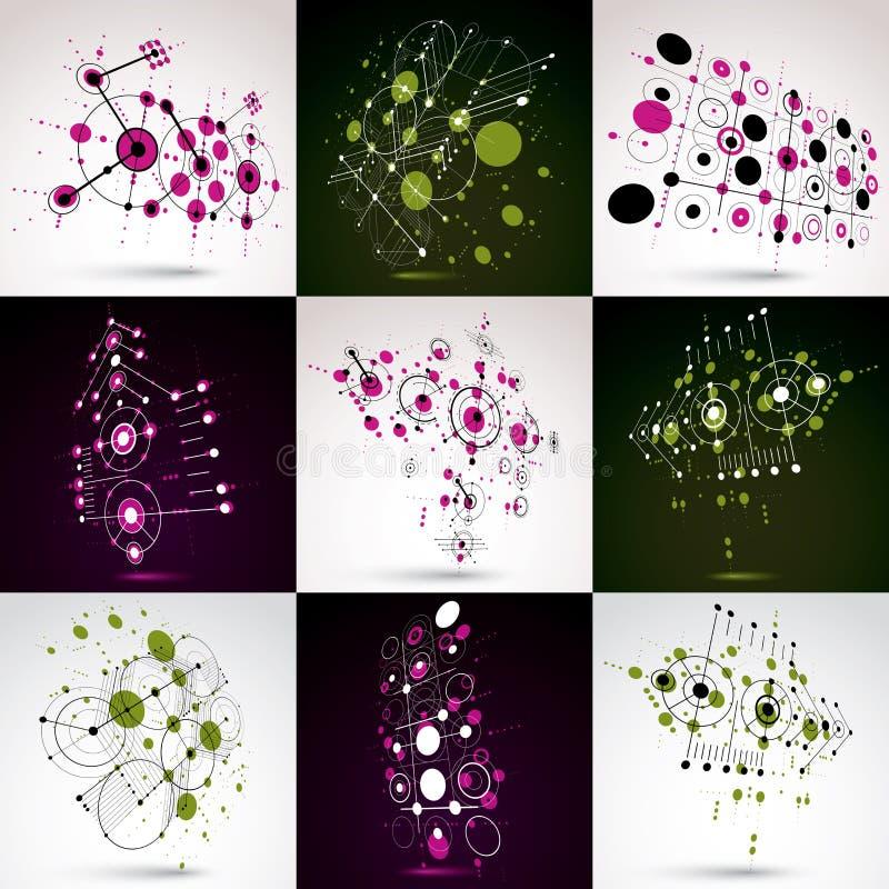 Sistema de papeles pintados retros del Bauhaus, de fondos del vector del arte hechos usando rejilla y de c?rculos Los ejemplos gr ilustración del vector