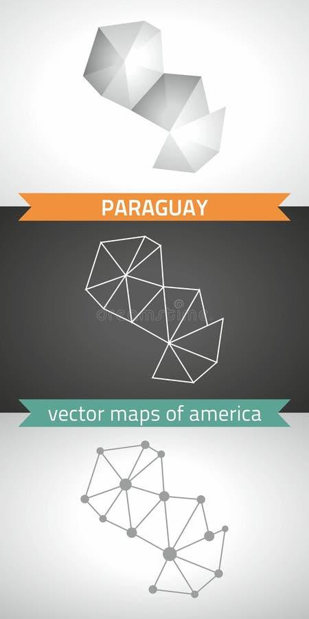 Sistema de Paraguay de gris y de mapas poligonales del mosaico 3d de la plata La perspectiva gráfica de la sombra del esquema de  stock de ilustración