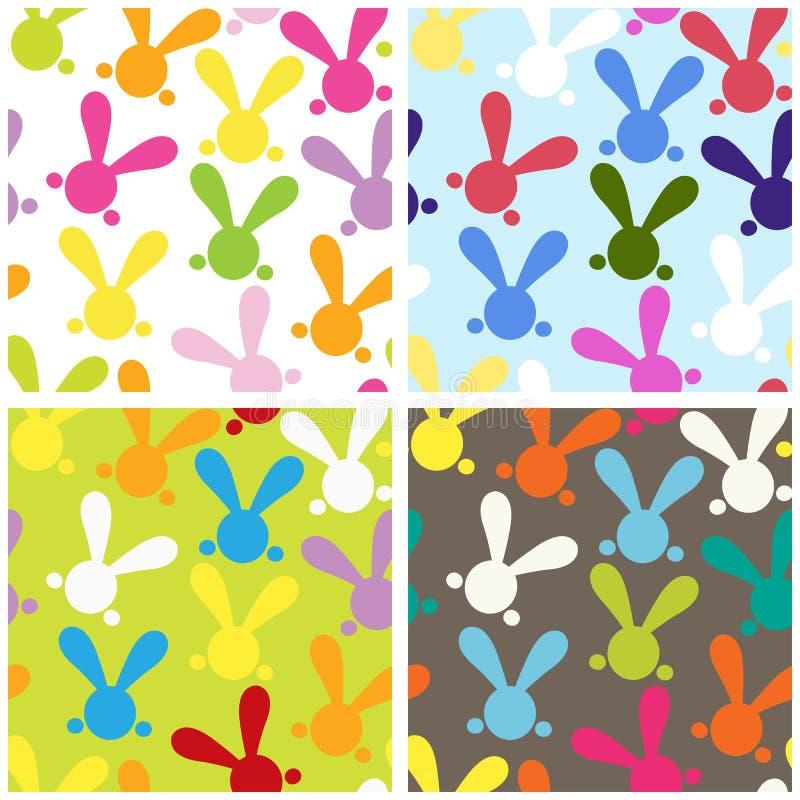 Sistema de paterns inconsútiles coloridos con el conejito de pascua libre illustration