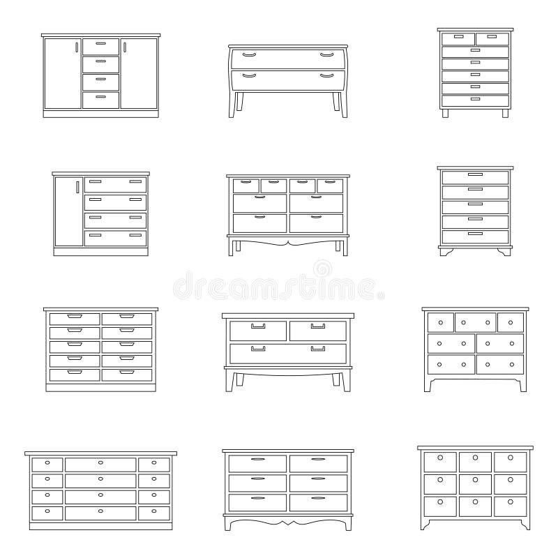 Sistema de pechos de cajones, ejemplo del vector libre illustration
