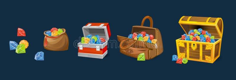 Sistema de pechos de las gemas en fondo azul Pechos del dinero de la historieta para los juegos, los libros etc stock de ilustración