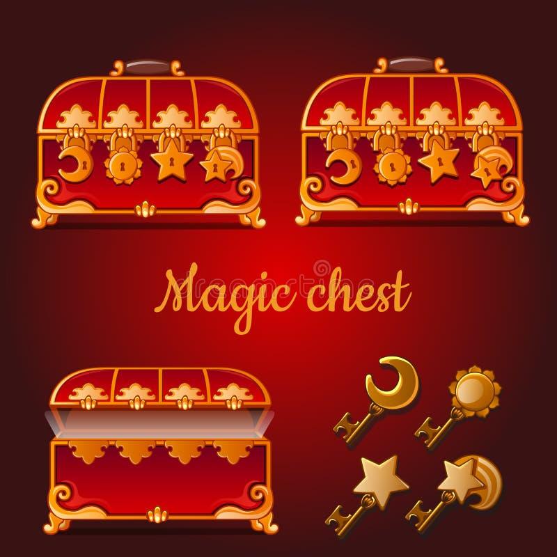 Sistema de pechos rojos mágicos y de llaves de oro ilustración del vector