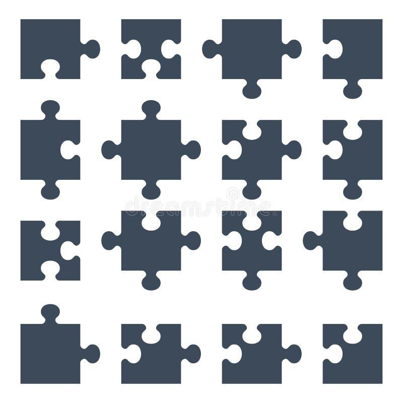 Sistema de pedazos del rompecabezas ilustración del vector