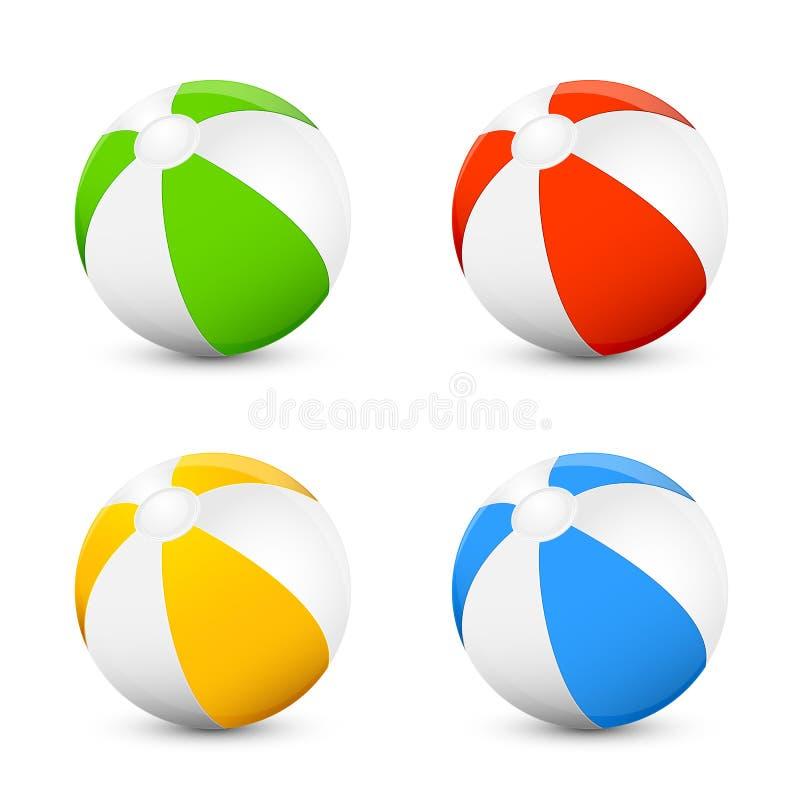 Sistema de pelotas de playa ilustración del vector