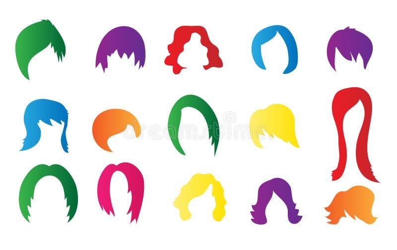 Sistema de pelucas coloridas ilustración del vector