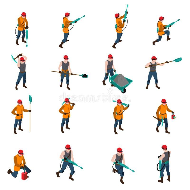 Sistema de People Isometric Icons del minero stock de ilustración