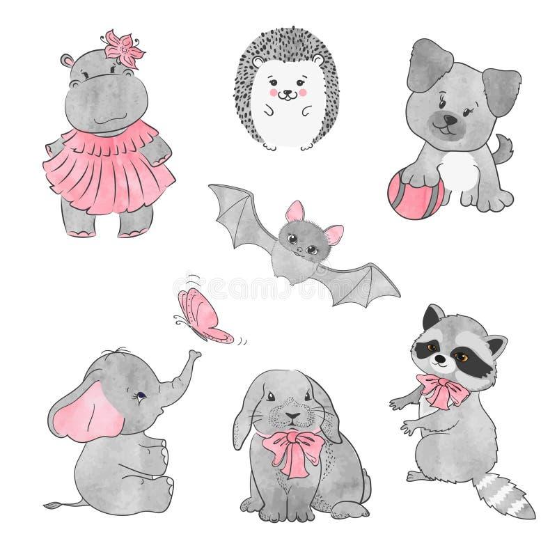 Sistema de pequeños animales lindos Ilustración del vector libre illustration