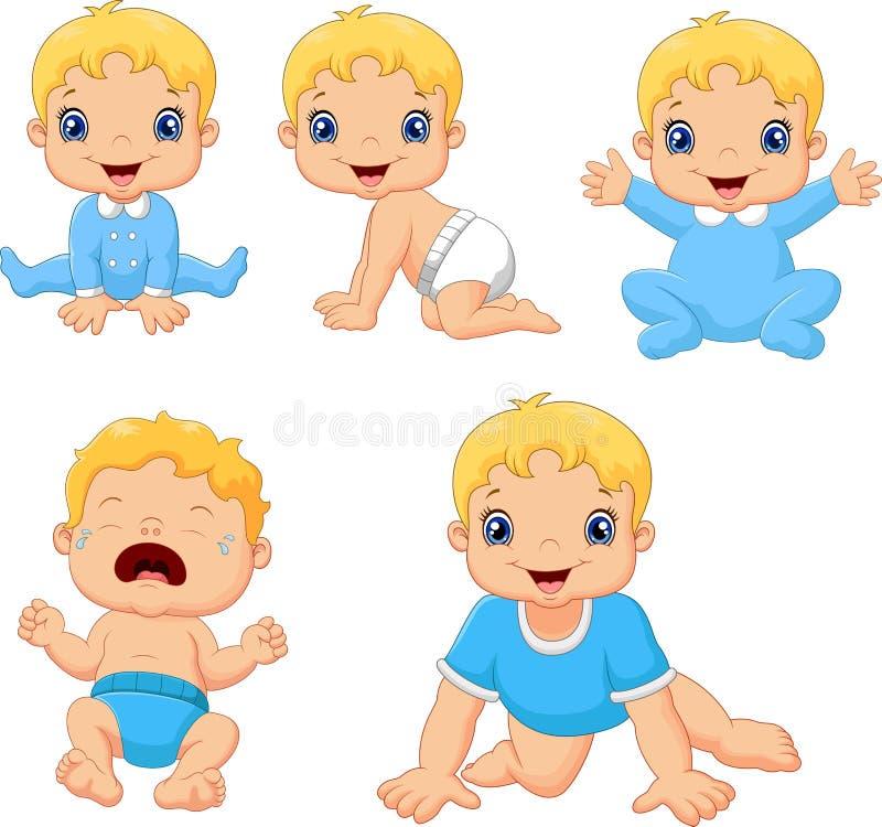Sistema de pequeños bebés lindos en diversas actitudes ilustración del vector