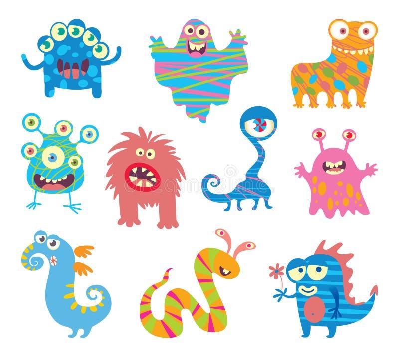 Sistema de pequeños monstruos divertidos stock de ilustración