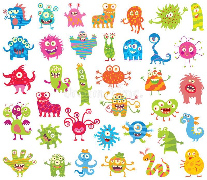 Sistema de pequeños monstruos divertidos Conjunto grande stock de ilustración