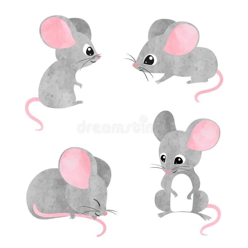 Sistema de pequeños ratones lindos Colección del ratón de la acuarela del vector stock de ilustración