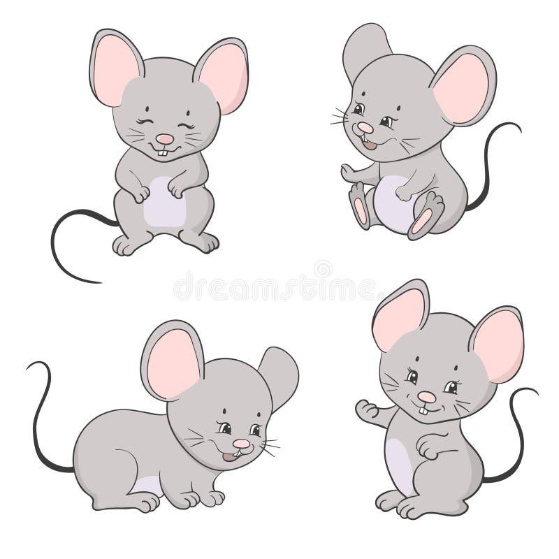 Sistema de pequeños ratones lindos de la historieta Colección del ratón del vector ilustración del vector