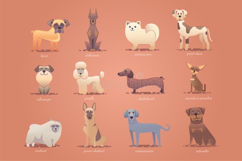 Sistema de perros alemanes, formato lindo del vector del ejemplo de la historieta ilustración del vector