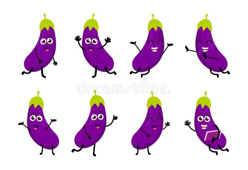 Sistema de personaje de dibujos animados divertido de la verdura de la berenjena stock de ilustración