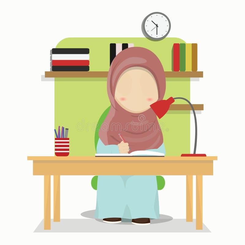 Sistema de personaje de dibujos animados de la muchacha de Hijab que hace a casa el trabajo, ejemplo del vector stock de ilustración
