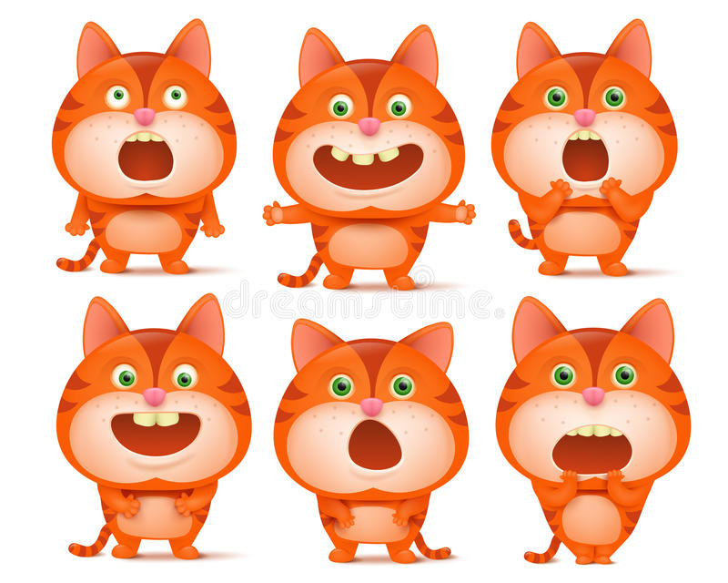 Sistema de personajes de dibujos animados anaranjados lindos del gato en diversas actitudes stock de ilustración