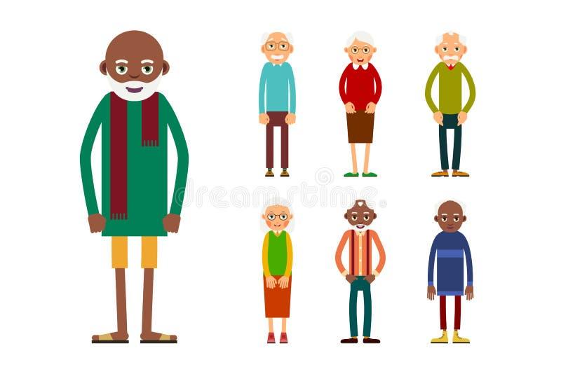 Sistema de personas mayores diversas aisladas en el fondo blanco