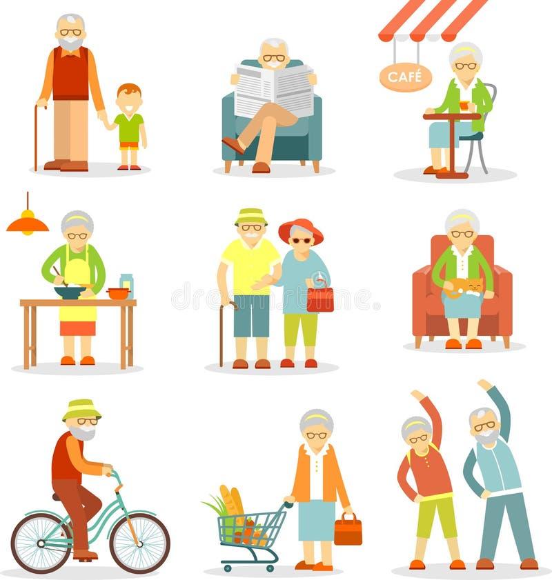 Sistema de personas mayores en diversas situaciones libre illustration