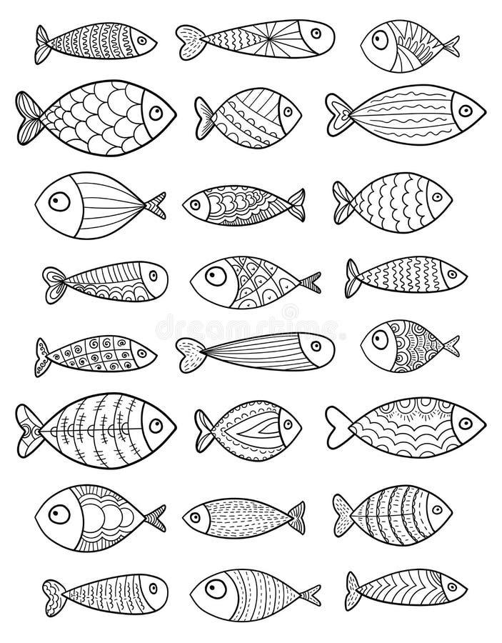 Sistema de pescados estilizados del vector Colección de pescados del acuario arte linear Ilustración para los niños ilustración del vector