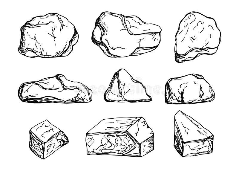 Sistema de piedras grandes del vector dibujos de la mano - Dibujos de piedras ...