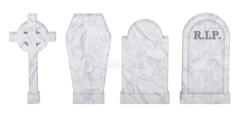 Sistema de piedras sepulcrales aisladas, representación 3D libre illustration