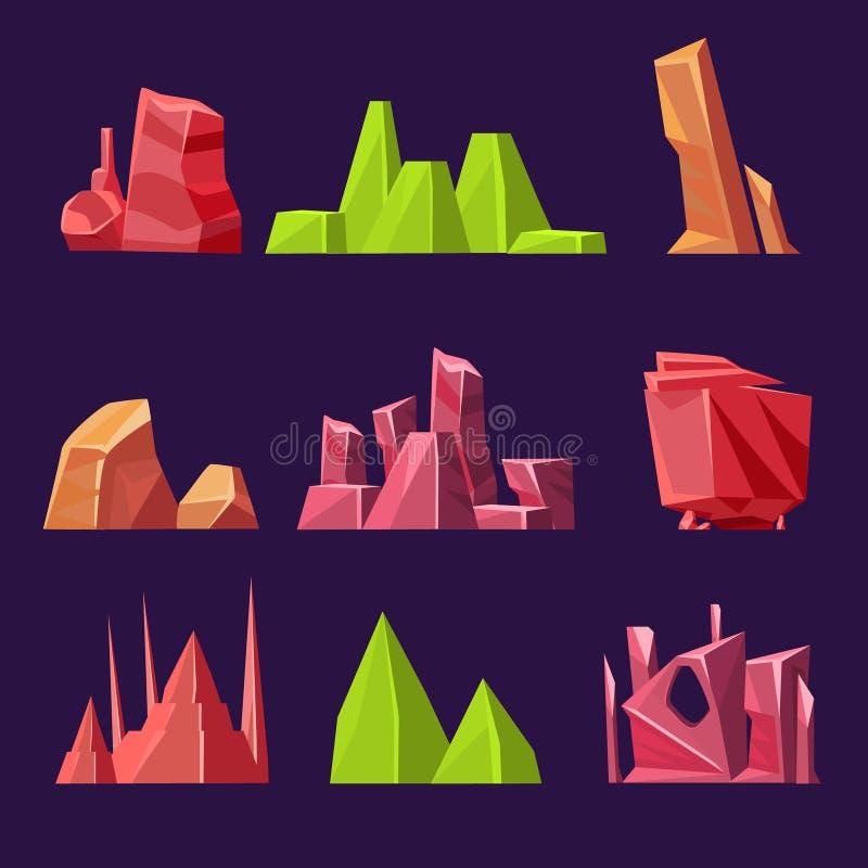 Sistema de piedras y de minerales del vector de la historieta para stock de ilustración