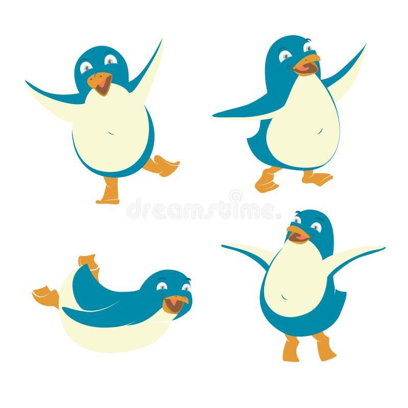 Sistema de pingüinos divertidos de la Feliz Año Nuevo de la Feliz Navidad ilustración del vector