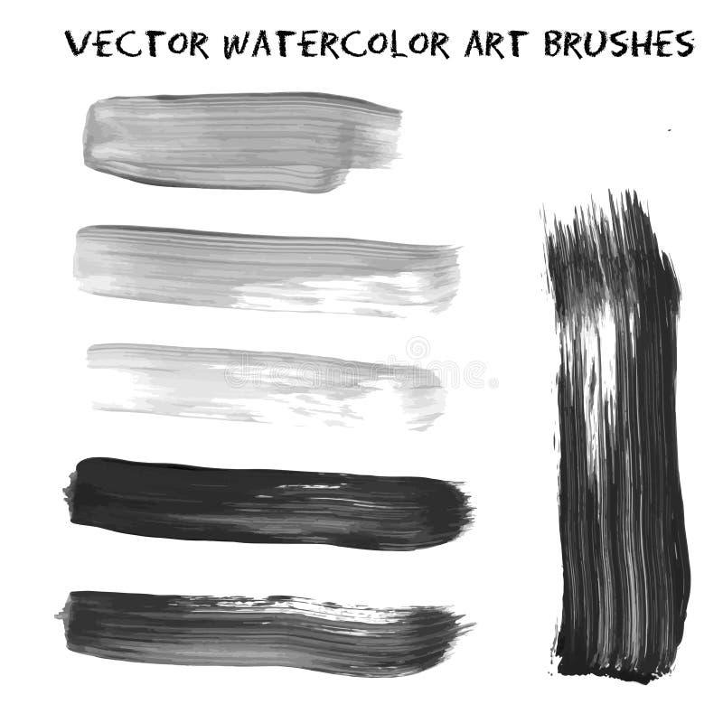 Sistema de pintura gris y negra de la acuarela, tinta, grunge, movimientos sucios del cepillo Ejemplo del vector para las impresi ilustración del vector