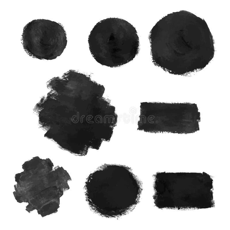 Sistema de pintura negra, tinta, grunge, movimientos sucios del cepillo imágenes de archivo libres de regalías