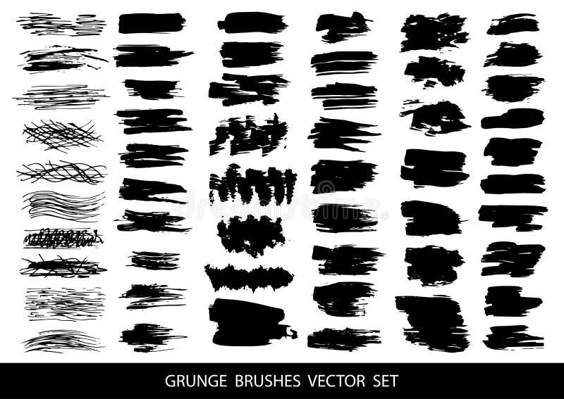 Sistema de pintura negra, tinta, grunge, movimientos sucios del cepillo Ilustración del vector stock de ilustración