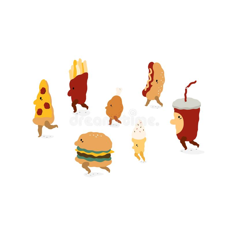 Sistema de pizza, hamburguesa, patatas fritas, pollo frito, helado, perrito caliente, ejemplo del vector de la bebida de la soda  stock de ilustración