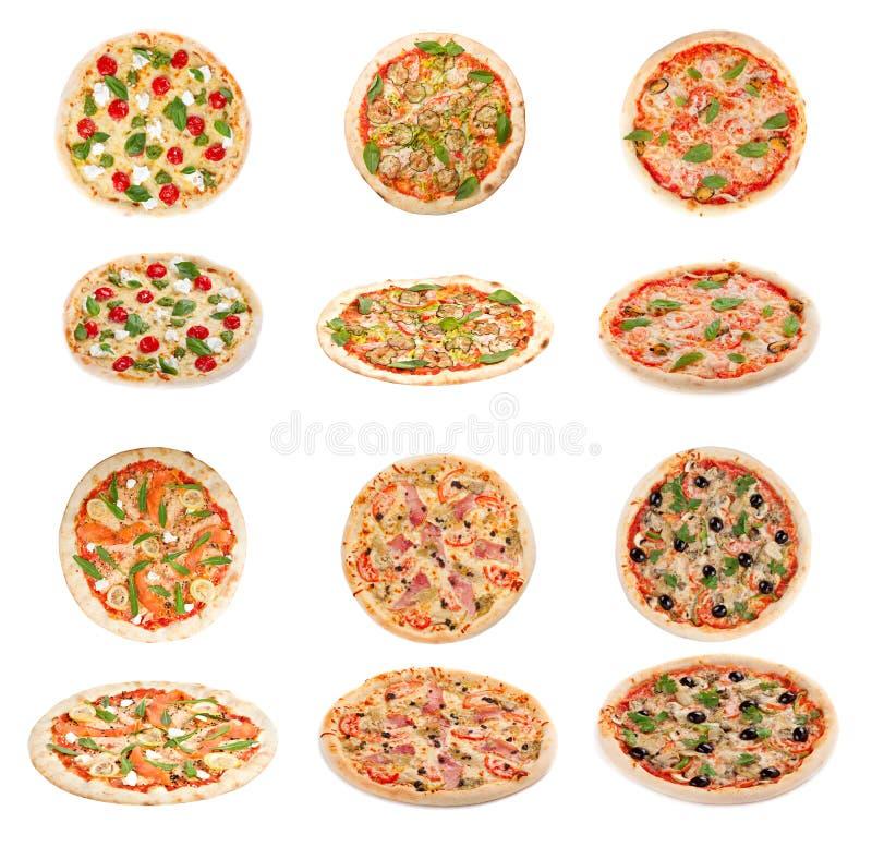 Sistema de pizza italiana sabrosa fotografía de archivo