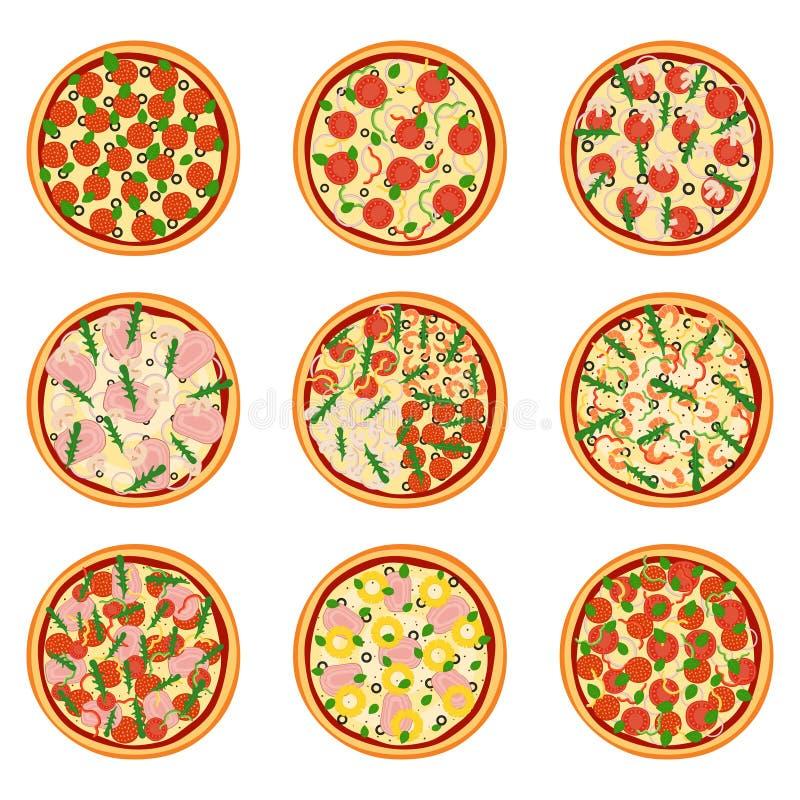 Sistema de pizzas apetitosas, ejemplo del vector stock de ilustración