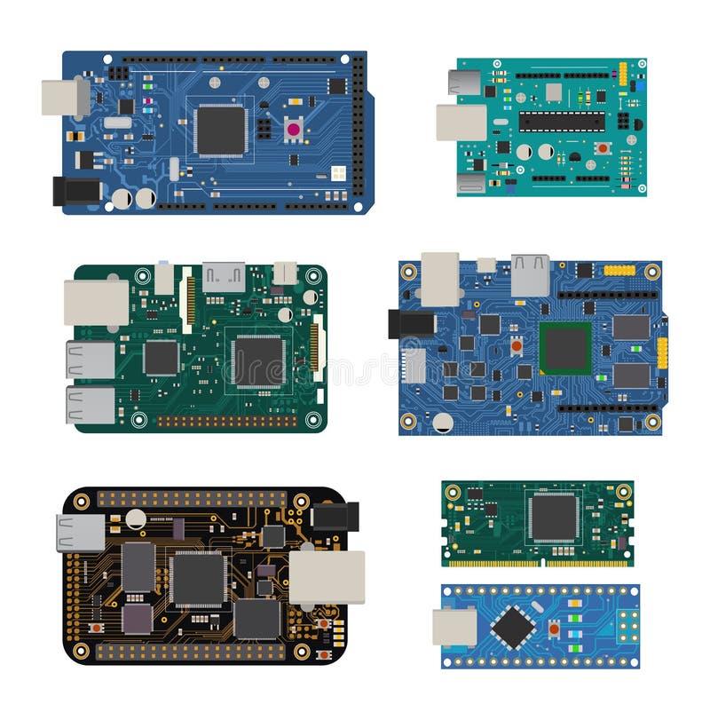Sistema de placas de circuito electrónicas con un microcontrolador, el LED, los conectores, y otros componentes electrónicos ilustración del vector