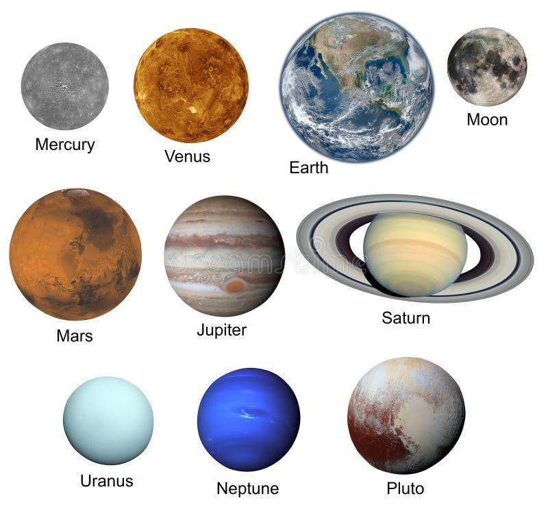 Sistema de planetas aislados en el fondo blanco stock de ilustración