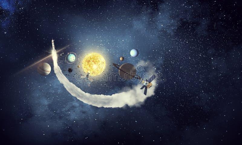 Sistema de planetas Meios mistos ilustração stock