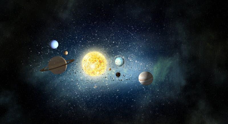 Sistema de planetas Meios mistos foto de stock royalty free
