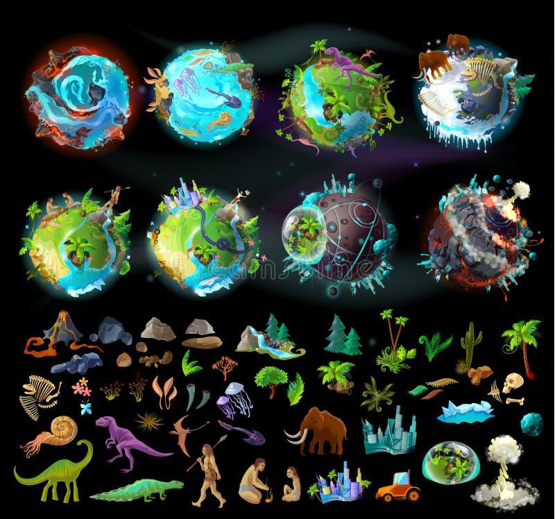Sistema de planetas y de elementos para el diseño de juego stock de ilustración