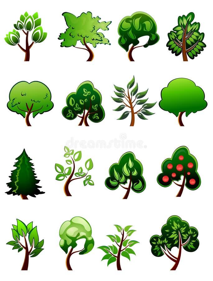Sistema de plantas verdes y de árboles de la historieta libre illustration