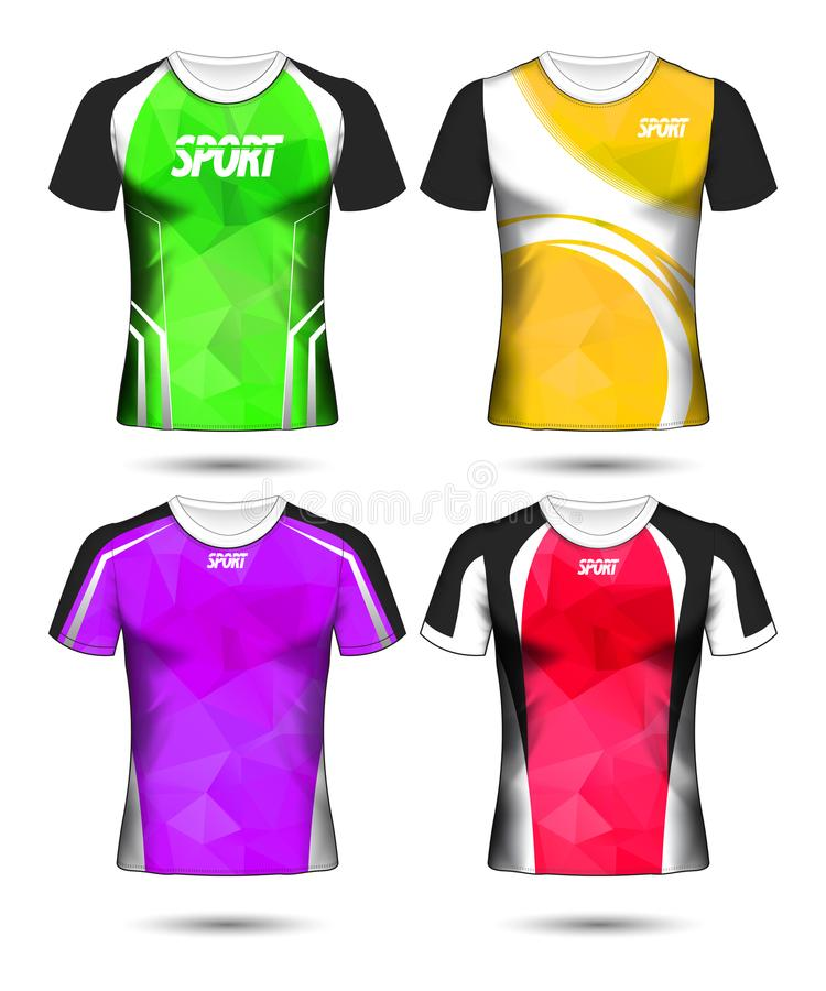 Sistema de plantilla y de polo polivinílicos del diseño de la disposición de la camiseta del deporte del fútbol ilustración del vector