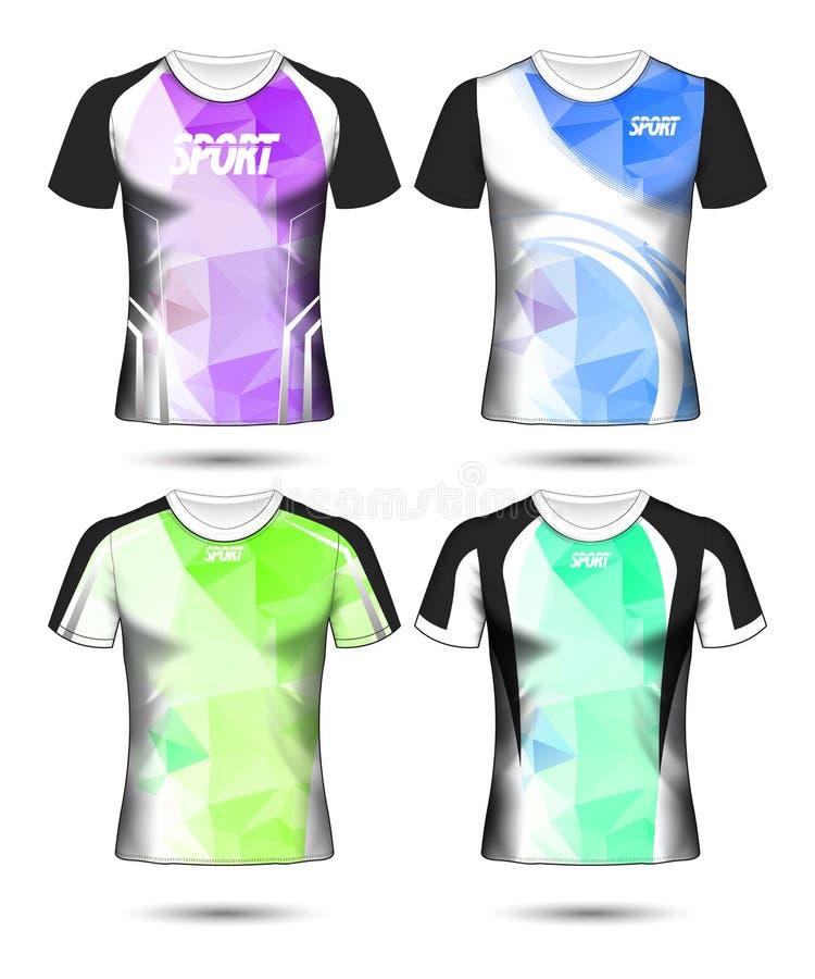 Sistema de plantilla y de polo polivinílicos del diseño de la disposición de la camiseta del deporte del fútbol libre illustration