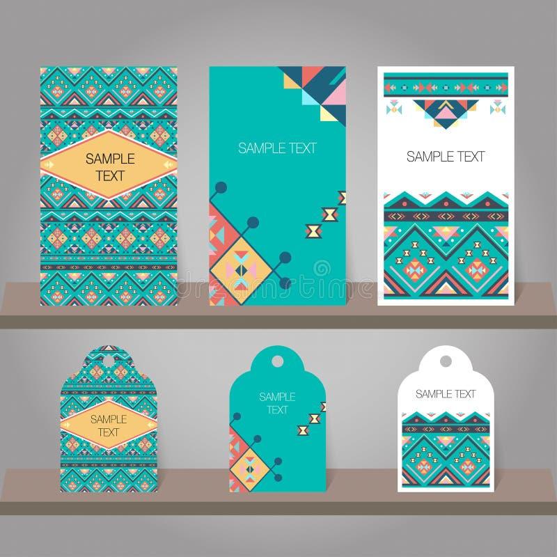Sistema de plantillas abstractas de la invitación y de las etiquetas stock de ilustración