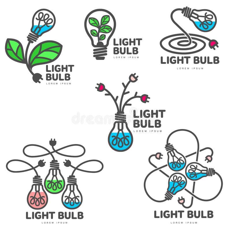 Sistema de plantillas coloridas del logotipo de la bombilla, crecimiento, concepto del desarrollo ilustración del vector