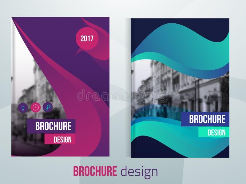 Sistema de plantillas de la cubierta del folleto del vector con paisaje blured de la ciudad Diseño de la cubierta del folleto del libre illustration