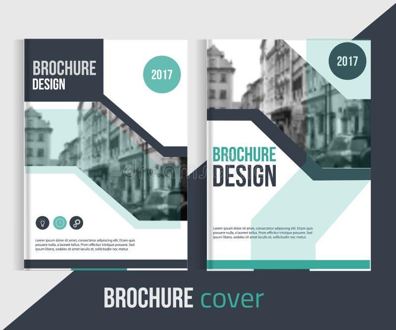 Sistema de plantillas de la cubierta del folleto del vector con paisaje y las líneas blured de la ciudad stock de ilustración