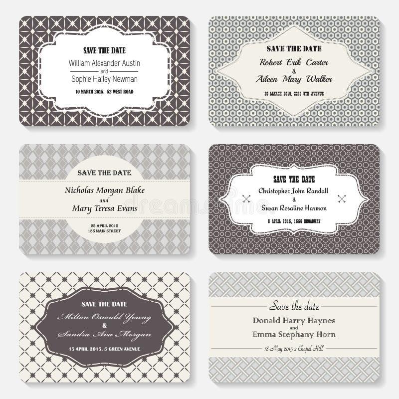 Sistema de plantillas de la invitación Tarjeta elegante del día de boda del vintage stock de ilustración