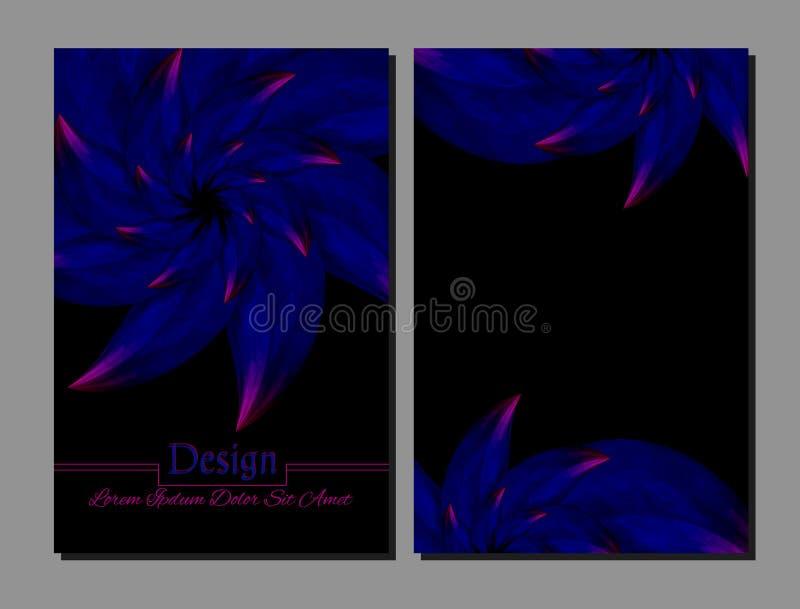 Sistema de plantillas del diseño del vector Cubierta abstracta del folleto del vector Folleto de la belleza Azul, rosado y negro ilustración del vector