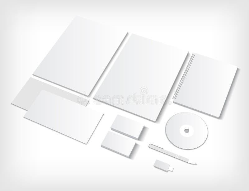 Sistema de plantillas del espacio en blanco del ci con las tarjetas de visita y stock de ilustración